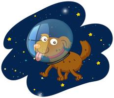 A cut dog in space vector