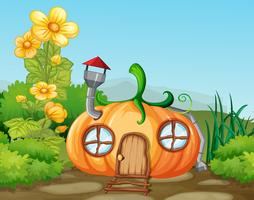 Enchanted pumkin house in nature vector