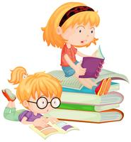 Two children reading books in school