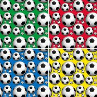 Seamless soccer balls on colors background
