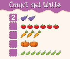 Math worksheet template count and write