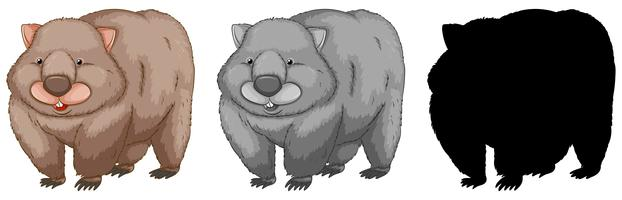 Set of wombat character