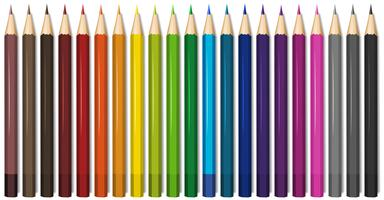 Twenty one shades of color pencils