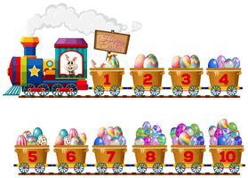 Un conejito de pascua en tren de números