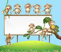 A Blank Sign Board with Playful Monkey