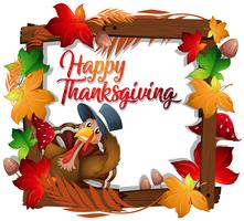 Thanksgiving turkey on wooden frame vector