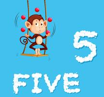A monkey jugling five ball