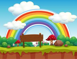 Een park en regenbooglandschap