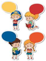 Sticker template with boys and girls