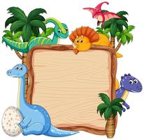 Many dinosaur on wooden banner
