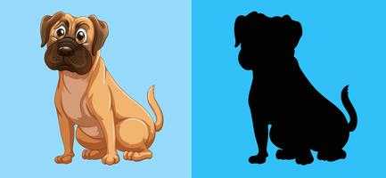 Silhouette dog on blue background vector