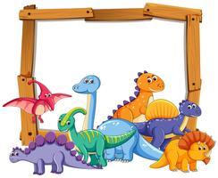 Different dinosaur on wooden frame