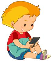 A boy playing mobile phone