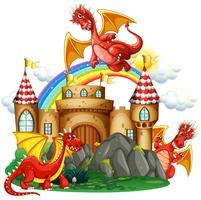 Dragon rouge au château