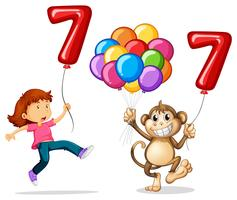 Girl and monkey with balloon number seven