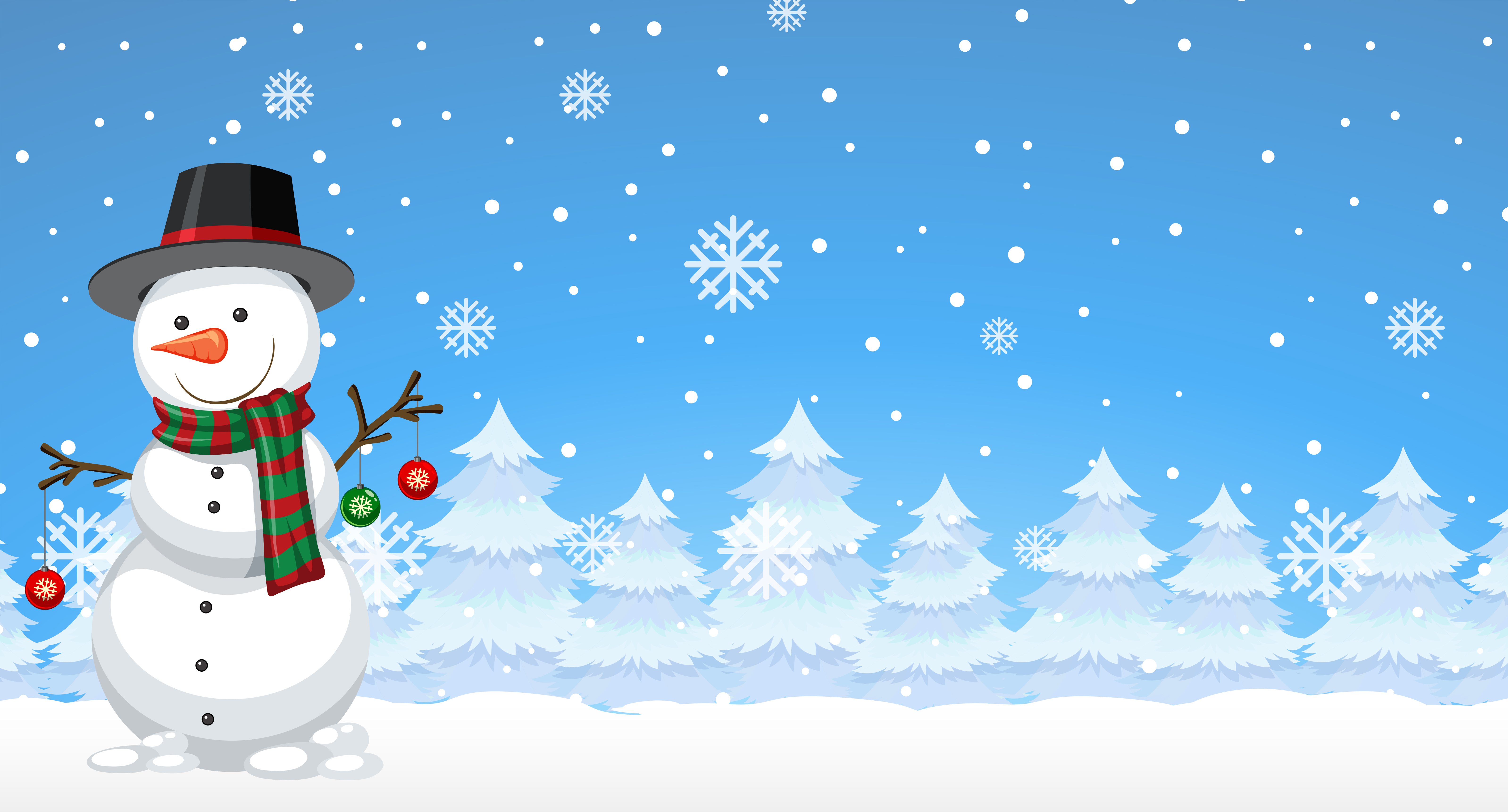 Snowman In The Winter Background Download Free Vectors Clipart Graphics Vector Art