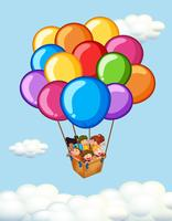 Happy children riding on balloons