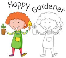 Doodle gardener character on white background