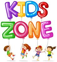 Kids zone with happy kids and balloons
