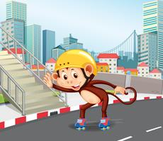 A monkey playing roller skate