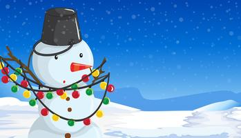 Snowman with christmas lights scene