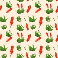 Aloe vera flower seamless pattern