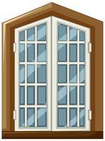 Design da janela com moldura de madeira