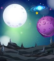 Scena di sfondo con fullmoon e stelle nello spazio