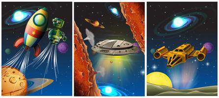 Tres escenas con nave espacial y robot en el espacio. vector