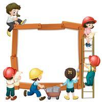 Cute boy and girl worker frame