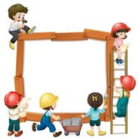 Cute boy and girl worker frame