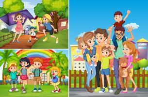 Família e filhos em casa
