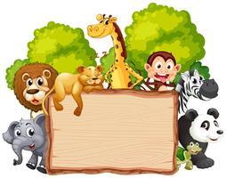Animal salvaje en banner de madera