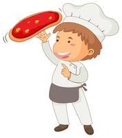 Chef italiano fazendo pizza
