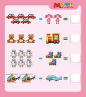 Math worksheet for subtraction with pictures