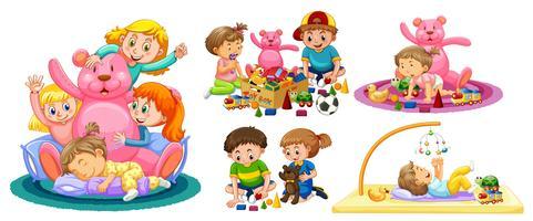 Barnen leker med leksaker på vit bakgrund