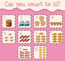 Contando hasta diez con comida diferente.
