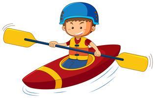 Tragende Rettungsweste und Sturzhelm des Jungen im Kanu