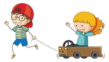 Speelwagen met jongen en grilt