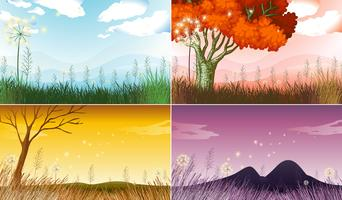 Four background scenes with different seasons vector