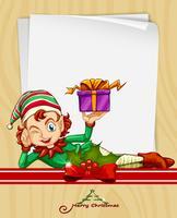 Carte de Noël avec elfe et cadeau