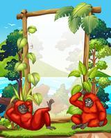 Cadre design avec deux gibbons