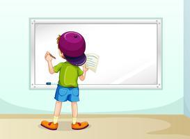 Boy writing vector