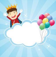 Een briefpapier met een koning en ballonnen