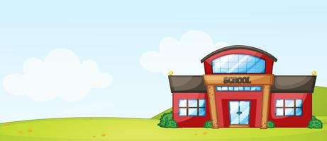 Isolated school building in nature vector