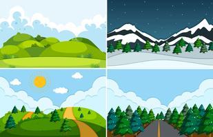 Set van vlakke natuur landschap