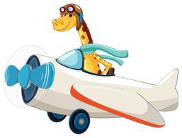 Giraffe, die ein Flugzeug reitet