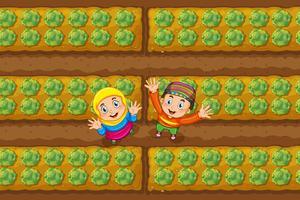Zwei moslemische Kinder im Gemüsegarten