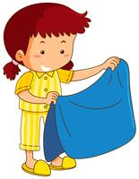 Girl and blue blanket