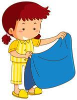 Chica y manta azul